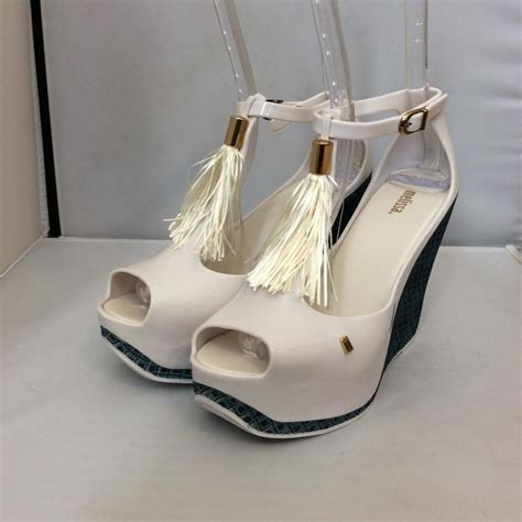 melissa peace whiteblue wedges  sale   wedges