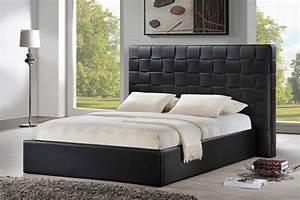 Prenetta Black Modern Bed with Upholstered Headboard