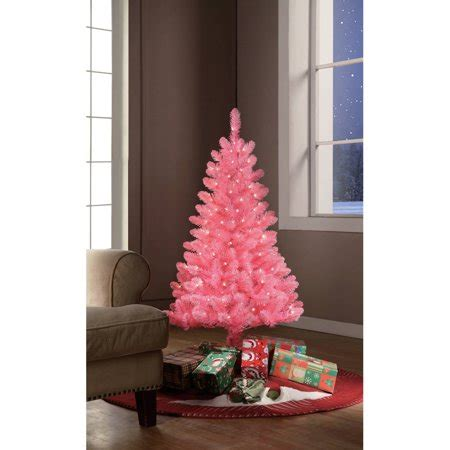 artificial christmas trees at wal mart time pre lit 4 pink tinsel artificial tree clear lights walmart