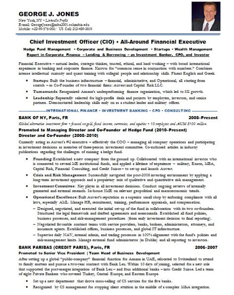Investment Banking Resume Format by Resume Sles Chief Investment Officer Bank Hnw