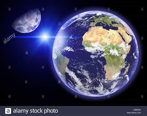 view of the earth and its satellite the Moon from space ...