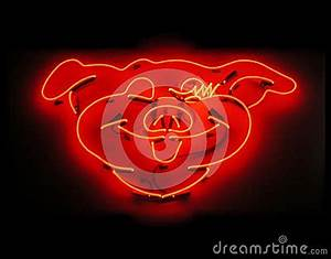 Illuminated Pig Neon Sign For Butcher Shop Stock s