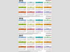 Three year calendars for 2015, 2016 & 2017 UK for PDF