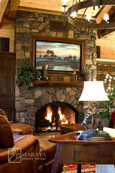 mountain home living room  stone fireplace rustic