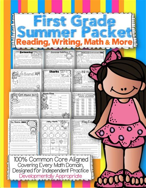 First Grade Common Core Summer Packet {reading, Math, Writing, And More}  Activities, Lexile