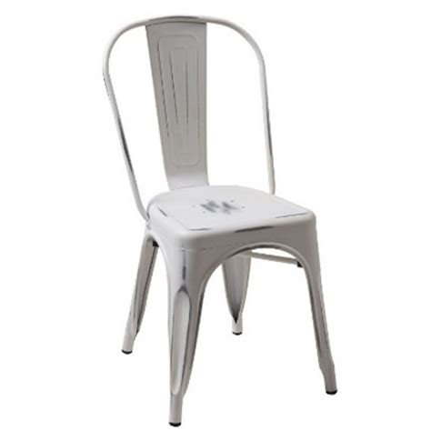 elan modern vintage white metal dining chair