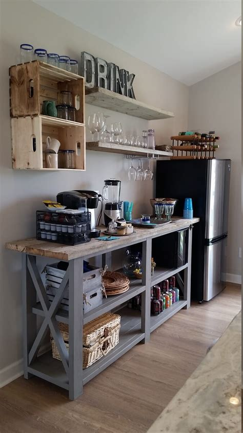 This 'pocket' coffee bar table is among the best ones that use the available space efficiently. 21 Terrific Coffee Bar Ideas to Help You Prepare Your Morning Coffee