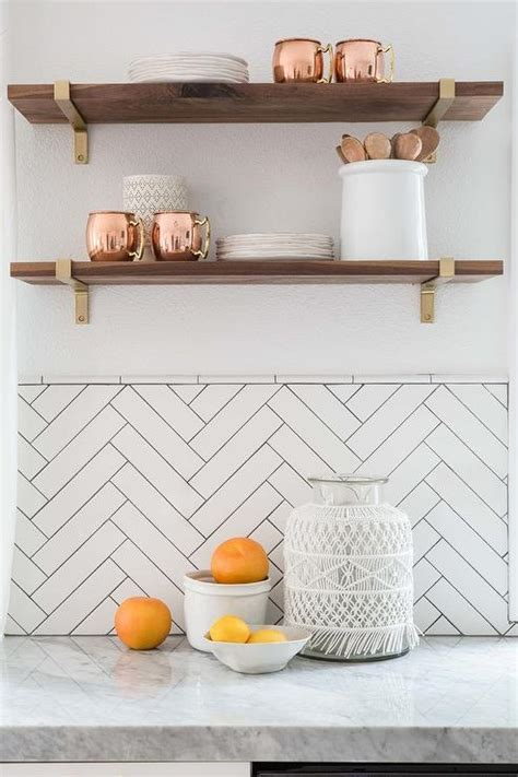 Kitchen with Herringbone Pattern Tiles   Contemporary