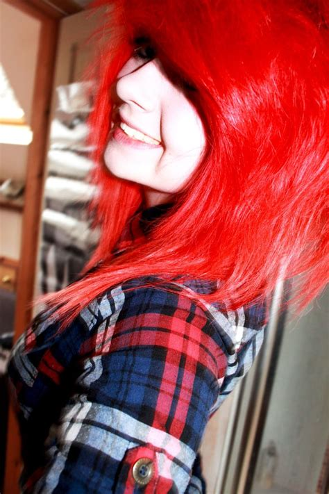 Bright Red Hair Plaid Scene Dyed Red Hair Bright Red