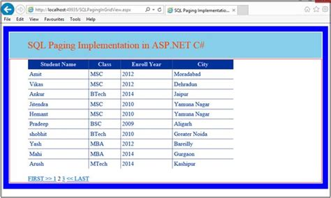 implementing sql paging in asp net