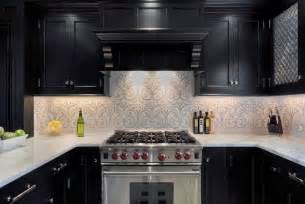 black backsplash in kitchen ornate patterned backsplash ideas with classic black kitchen cabinet for minimalist kitchen