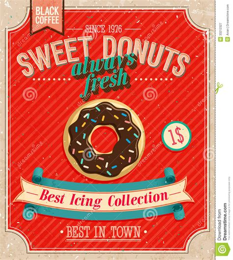 vintage donuts poster stock vector image  background