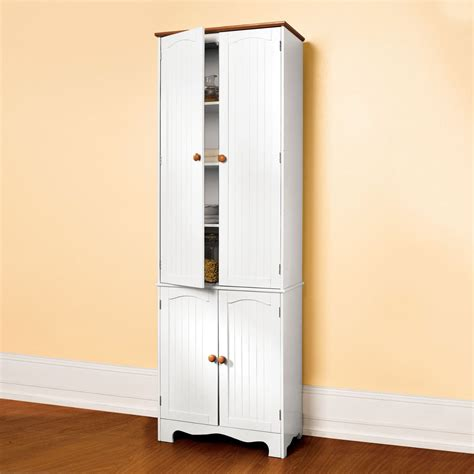 white pantry storage cabinet adding an elegant kitchen look with white kitchen pantry