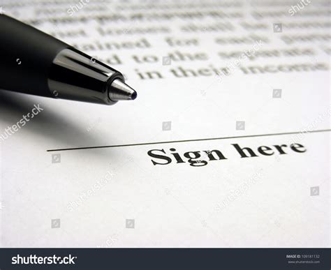 Sign Here Field Signature Concept Stock Photo 109181132