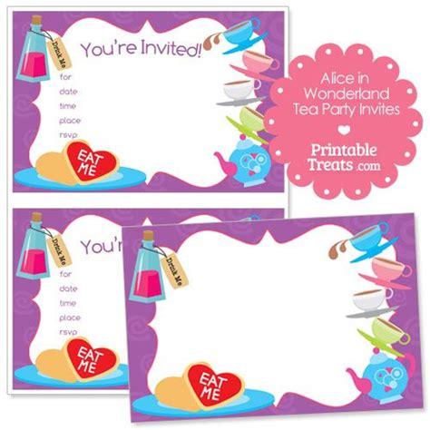printable alice  wonderland tea party invitations