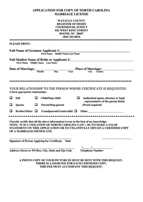 application  copy  north carolina marriage license