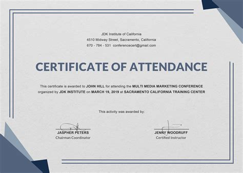 certificate of attendance seminar template free conference attendance certificate template in adobe photoshop illustrator indesign