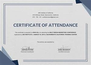 Free conference attendance certificate template in adobe for Certificate of attendance seminar template