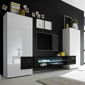 les 25 meilleures idees de la categorie meuble tv blanc With superior meuble salon contemporain design 3 meuble tlvision blanc et noir laqu brillant sofamobili