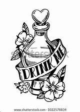 Potion Bottle Drink Vector Tattoo Coloring Pages Sketch Shutterstock Drawn Hand Template sketch template