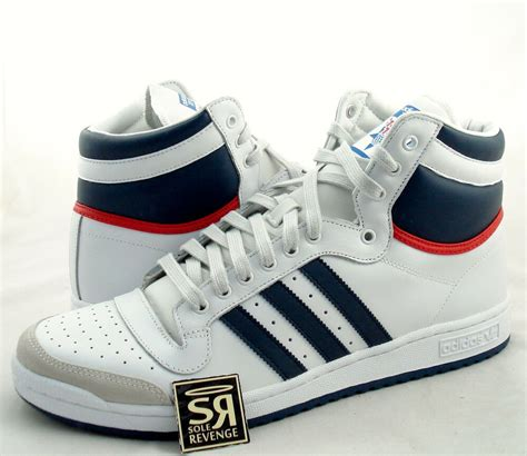 New Adidas Originals Mens Top Ten Hi Shoes White Navy Red