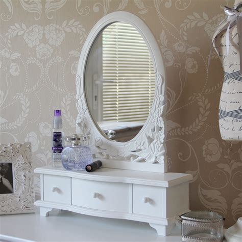 white dressing table mirror with drawers