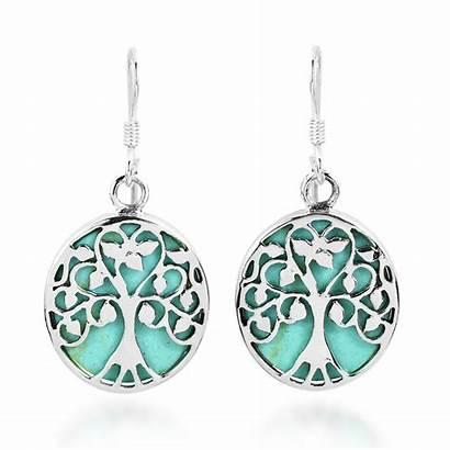 Earrings Tree Dangle Turquoise Sterling Accents Earring