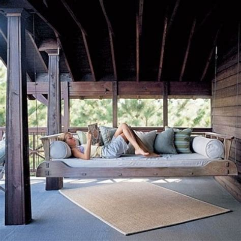 hanging outdoor beds relaxing swing bed porch daybed swinging designs patio swings furniture relax garden hang relaxation chair digsdigs way
