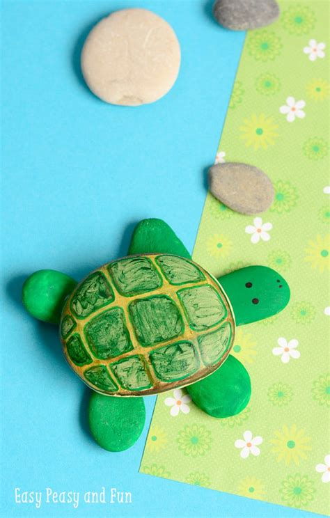 rock turtle craft easy peasy and 789 | Rock Turtle Craft Simple Rock Painting for Kids