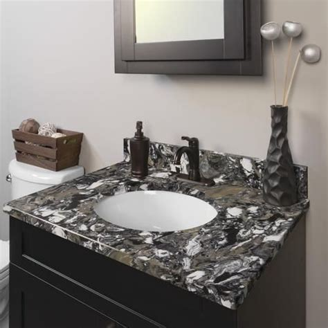 """At american standard it all begins with our unmatched legacy of quality and innovation that has lasted for more than 140 years.we provide the style and performance that fit perfectly into the life, whatever that may be. RiverStone Quartz 49""""W x 22""""D Vanity Top 