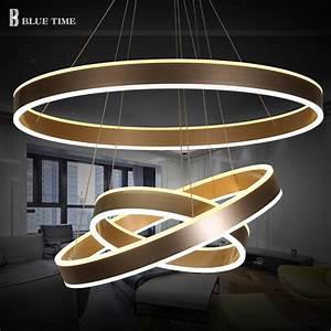 Luminaire 3 Suspensions : 40 60 80cm modern led living dining room pendant lights suspension luminaire led 3 rings pendant ~ Teatrodelosmanantiales.com Idées de Décoration