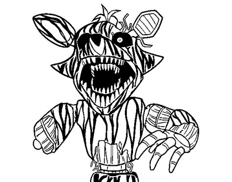 disegni da colorare animatronics terrifying foxy from five nights at freddy s coloring page