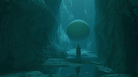 Download wallpaper 1920x1080 cave man sphere stones
