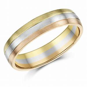 5mm 9ct gold 3 colour court shape wedding ring band 9ct for Three gold wedding rings