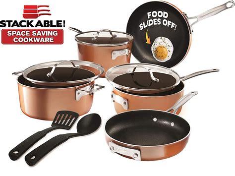 gotham steel stackable pots  pans stackmaster  piece cookware set walmart canada