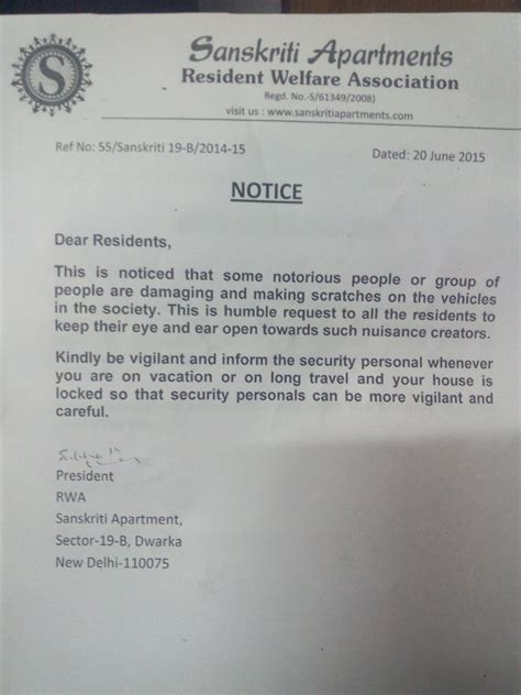 societys notice board sanskriti apartments sector