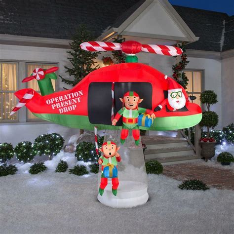 christmas inflatable santa elves helicopter animated