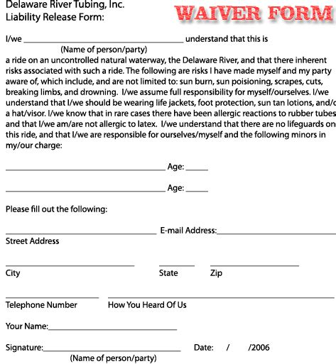 printable liability release waiver form form generic