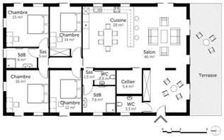 Plan Maison Plain Pied 4 Chambres Avec Suite Parentale by Plan Maison De Plain Pied 160 M 178 Avec 4 Chambres Ooreka