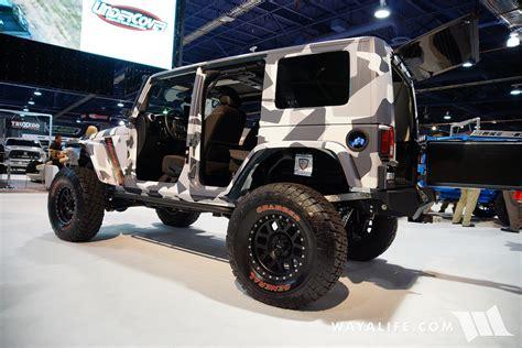 blue camo jeep 2016 sema truck hero camo jeep jk wrangler unlimited