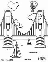 Gate Coloring Bridge Golden Francisco San sketch template