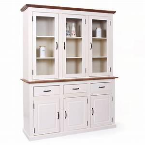 Vaisselier En Pin : vaisselier pin massif blanc et bois s pia caly ~ Teatrodelosmanantiales.com Idées de Décoration