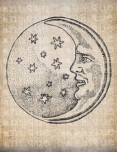 Antique Moon Smiling at Stars Space Vintage Illustration ...