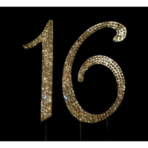 silver rhinestone sweet sixteen 16 buy 16th birthday cake toppers number 16 bling