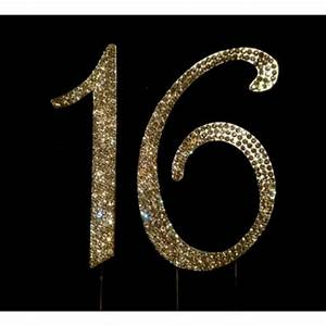 Buy 16th Birthday Cake Toppers Number 16 Bling Crystal ...