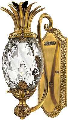 plantation pineapple wall sconce  clear optic glass