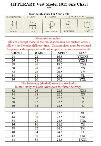 Tipperary Competitor Vest Size Chart | Equestrianism ...