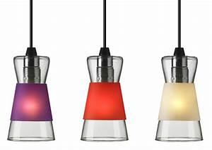 Luminaire 3 Suspensions : suspension pure avec 3 bagues color es interchangeables bagues violet rouge blanc ~ Teatrodelosmanantiales.com Idées de Décoration