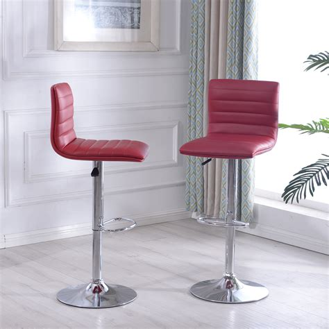 At modern digs, we take a different approach to selecting modern bar stools. Modern Set of 2 Bar Stools Leather Adjustable Swivel Pub ...