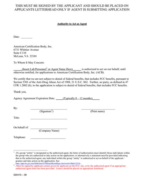 federal agency cover letter exle of fcc agency authorization letter in word and pdf